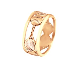 Tennis Ring, Tennis Jewelry, Silver, Gold,  Tennis Gift, Tennis Racquet, Tennis Ball, Gift for her, Gift for Tennis Player, Tennis Mom