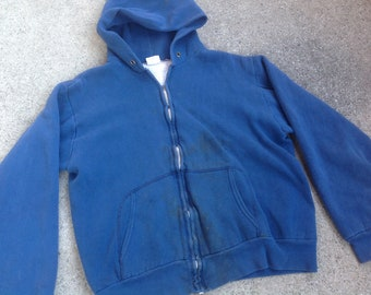 Vtg 60s 70s Maverick distressed two layer thermal lined hoodie / talon zipper / made in USA / sun fade / M/L