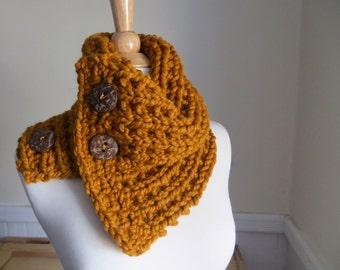 Chunky Knit Three-Button Neck Warmer--Butterscotch