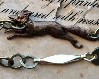Fox assemblage Jewelry, fox charm necklace, vintage coin necklace, woodland fox charm, fabulous Mr. Fox