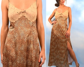 Vintage 70s 80s Vanity Fair Leopard Print Dressing Gown (size small, medium)