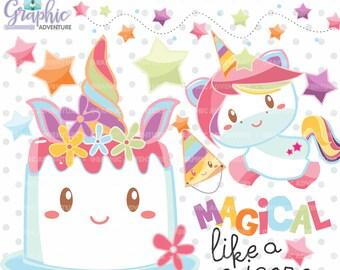 Unicorn Clipart, Unicorn Graphics, COMMERCIAL USE, Unicorn Party, Cake Clipart, Cute Unicorn, Unicorn Illustration, Kawaii, Cute