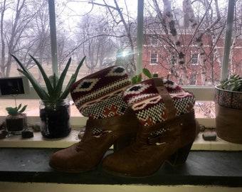 Aztec knit booties