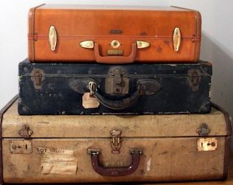 Vintage Suitcase Hard Side Leather Trimmed Mendel