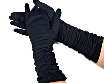 Black Ruched Elbow Gloves Nylon Made USA
