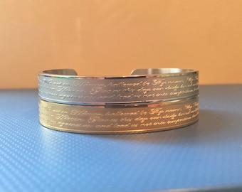 Our Father Prayer Bracelet Engraved Cuff Bracelet