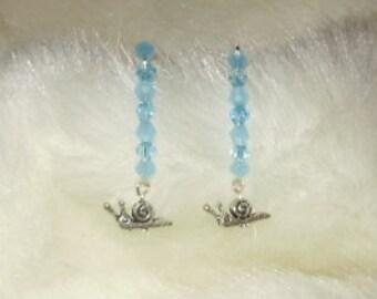 Swarovski Crystal V Hook Snail Dangle Earrings