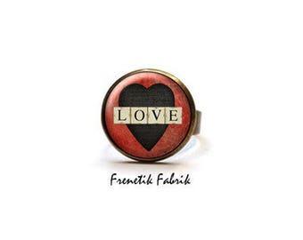 Beige black red heart Love ring ° ° Cabochon love Retro