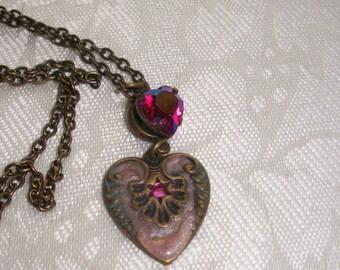 Vintage Heart Pendant, By Brendas Beading on Etsy