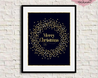 Merry Christmas Print, Merry Christmas gold foil, Gold Christmas wall art, Christmas printable decor, Christmas printable wall art, 8x10