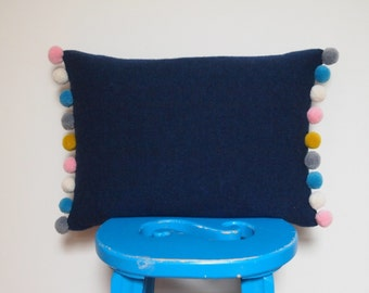 Navy Pom Pom Cushion Made With 100% Soft Lambswool