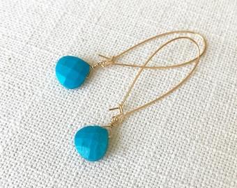 Turquoise Hoop Earrings in Gold or Silver