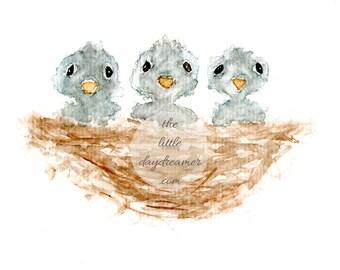 watercolor clipart, high resolution, children's art, Nursery Art, baby's room art, baby birds, Birth Announcement Clip Art, BIRDS NEST ART