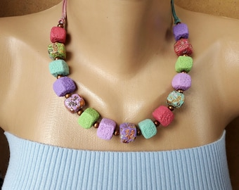 Colorful necklace summer gift idea summer jewelry pastel Cubes Necklace  sweet Marshmelow jewelry birthday gift girlfriend clay jewelry