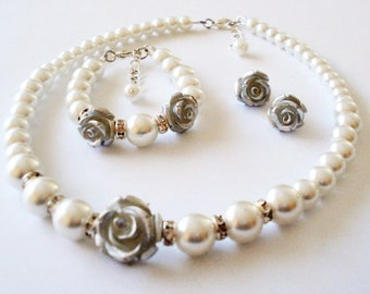 Flower Girl White Pearl Necklace, Bracelet and Earring Set,Silver Flower Girl Gift Set, Flower Girl Jewelry Set