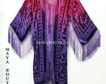 Burnout Velvet Kimono Jacket Wearable Art Hand Dyed Purple Magenta Maya Matazaro
