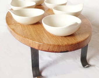 Armadillo recycled oak wine barrel sauces/appetizers serving tray, Seder plate. Wrought iron legs