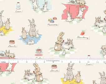 Bunny Fabric, Penny Rose Bunnies and Cream C6020 Main Cream, Rabbits in the Kitchen Quilt Fabric, Spring Fabric, Lauren Nash, Cotton