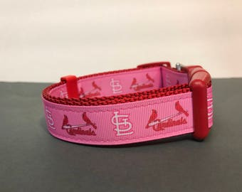 Saint Louis Cardinals inspired Dog Collar Pink