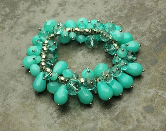 Teal Bracelet, Teal Glass Bead Stretch Silvertone Bracelet