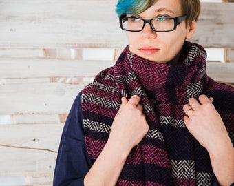 Purple Striped Scarf - Hand Woven Scarf - Merino Wool Scarf - Warm scarf - Women Scarf - Large handwoven scarf