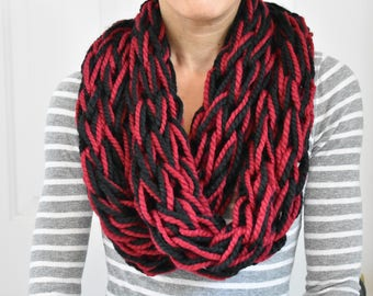 Arm Knitted Infinity Scarf. Winter Scarf. School Spirit. Handmade Wool Scarf. Black Red Scarf. Winter Accessory. Gift For Her. Under 30.