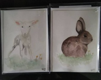 Watercolour greetings cards for Spring, animals
