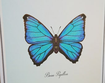 Butterfly Greeting card - print from original Pencil & ink drawing, Blue Butterfly trimmed with Swarovski crystal