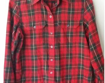 Ralph Lauren shirt, XS, S, plaid flannel shirt, classic shirt, designer shirt, plaid blouse, plaid top, flannel top