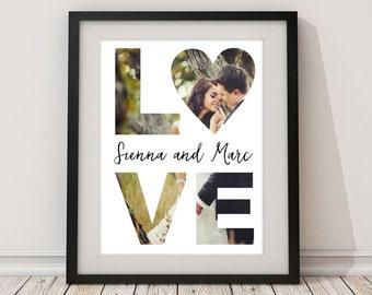 LOVE Paper Anniversary Custom Photo Wall Art Keepsake Print - Gift for Mother's Day, Valentine's Day, Wedding, Christmas, Bridal Shower