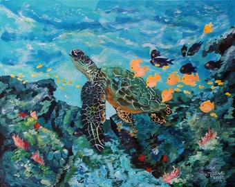 Underwater Scene with Sea Turtle