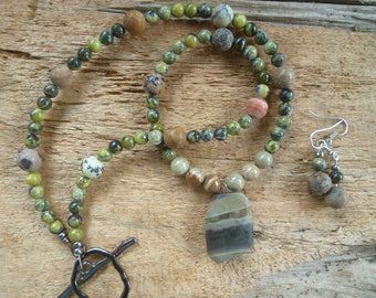 earthy brown and green set