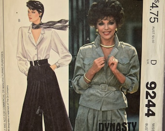 Nolan Miller's Dynasty Collection Joan Collins 1980's McCall's 9244 Vintage Sewing Pattern Misses' Shirt Culottes and Belt Size 10 Bust 32.5