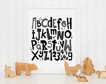 ABC Printable Art, Playroom Wall Art, Nursery Art Printable Alphabet, Alphabet Poster, Black and White, Nursery Decor Digital Download
