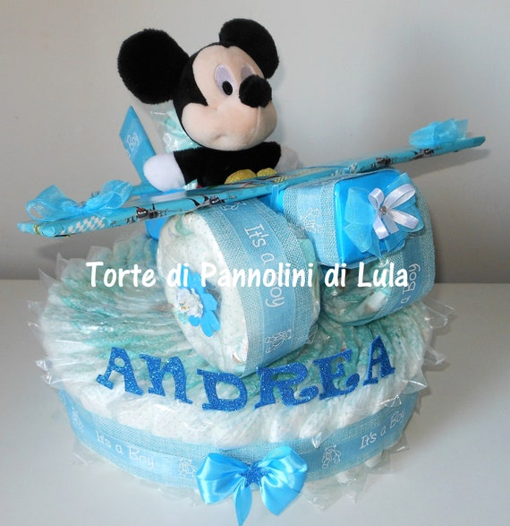 torta di pannolini aereo pampers baby dry peluche nome. Black Bedroom Furniture Sets. Home Design Ideas