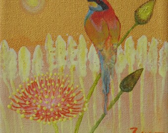 Original Bee Catcher Bird Acrylic Painting 6 by 6 on stretched canvas