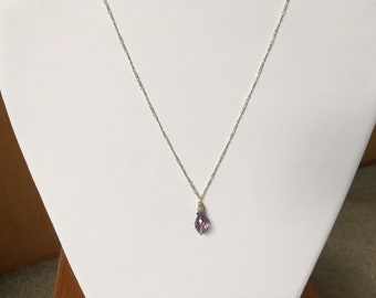 """Sterling Silver 18"""" Fine Figaro Chain with Faceted Amethyst, February's & Pisces Birthstone, Pendant"""