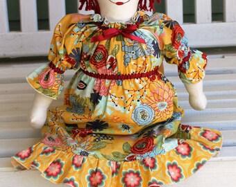 MODERN ANNIE Doll Pattern, PDF Raggedy Ann Doll and Dress Pattern