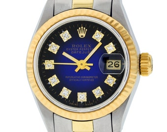 Rolex Lady Datejust Oyster 69173 SS & 18K Yellow Gold Blue Vingette Fluted Watch