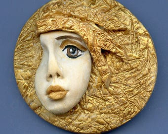 Golden face cab  OOAK Polymer clay Detailed  layered hat  GANM 2