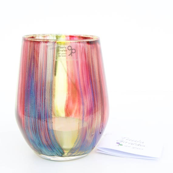 Candle holder - Glass - Hand painted - Colorful stripes - Tealight - Nightlight - Home decor - For her and for him - Ready To Ship