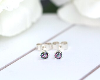 Mystic Topaz Stud Earrings, November Birthstone Earrings, Sterling Silver Stud Earrings