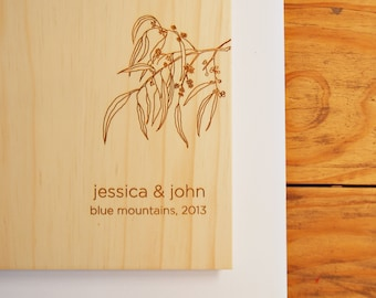 Eucalyptus Wedding Guest Book, Australian Wood, Wedding Gift, Engagement Present