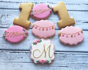 pink and gold tassle monogram birthday cookies