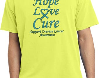 Men's Hope Love Cure Support Ovarian Cancer Awareness Pigment Dyed Tee T-Shirt HLC-SOCA-PC099