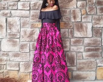 "Pink Damask Satin Taffeta Ball Skirt LAST ONE (XS-L) Split or No Split ""Robyn"" Petite to 5'5"