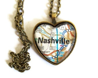 Nashville Heart Map Necklace, Tennessee Necklace, City Map Necklace, Nashville Jewelry, Bronzed or Silver