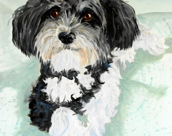 Personalized Pet Oil Painting, Havanese or any breed from your photos