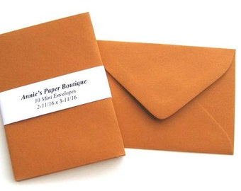10 Mini Envelopes - Rich Rust -Card Making, Paper Crafting, Gift Cards, Tags, Souvenirs, Mementos, Notes, Gift Giving
