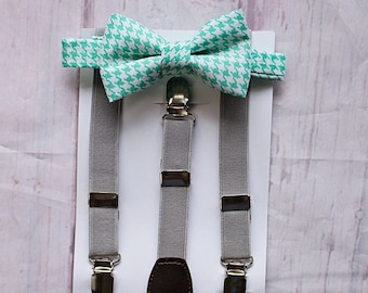 Boys Bow Tie Grey Suspenders, Boys Cake Smash Outfit, Ring Bearer Outfit, Baby Boy Bow Tie, Boys Clothes, Baby Boy Bow Tie, Toddler Bow Tie